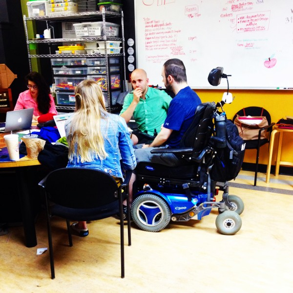 Ryan brainstorming with his Open Style Lab team on a way to make clothing more accessible