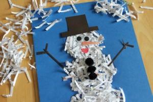 shredded snowman craft