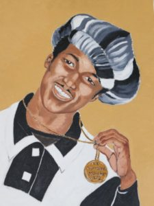 painting of Ray in 1972 wearing gold medal