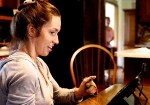 ashley using communication device