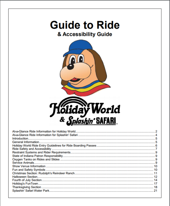 Accessibility Guide at Holiday World