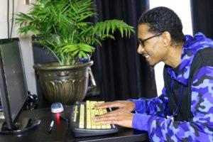 Wade at computer
