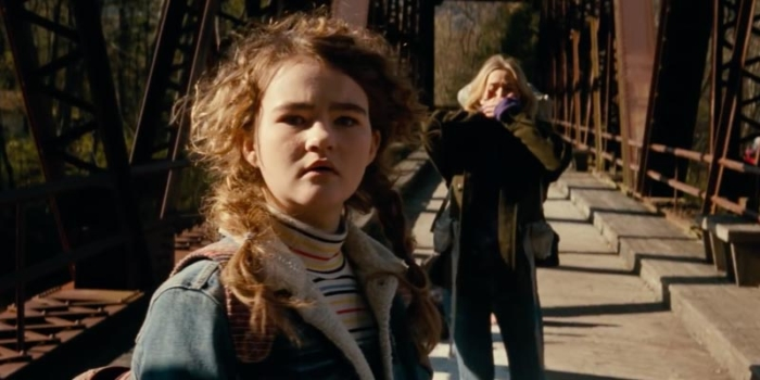Millicent Simmonds on bridge in A Quiet Place