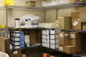 hospital supplies on shelves