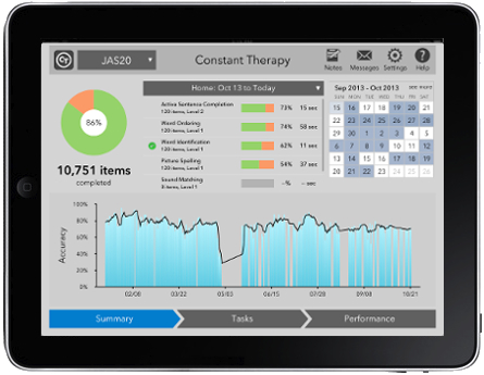 Screen of constant therapy app