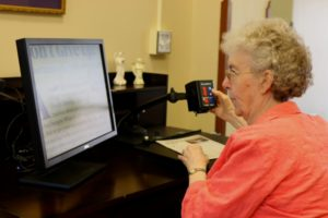 Sister Gloria using CCTV