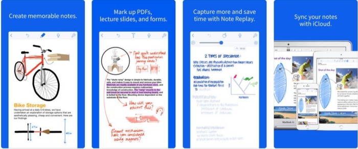 Screenshots of Notability app