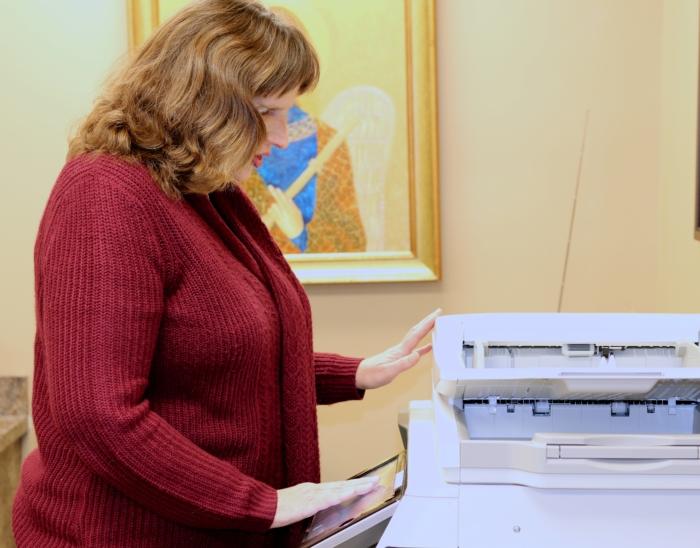 Tracy at the printer