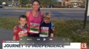 WTHR 13 - Journey to Independence image lady standing with her two boys