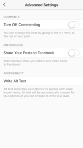 instagram advanced settings page