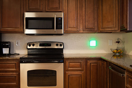 Square glow light in kitchen