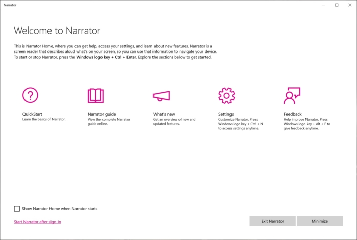 Screenshot of Narrator from Windows 10
