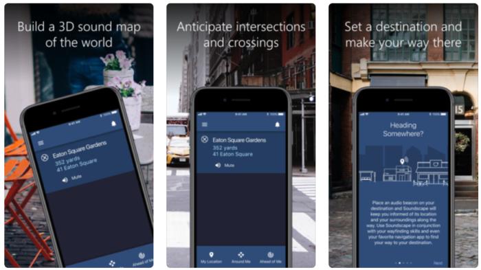 Screen shots of Soundscape app