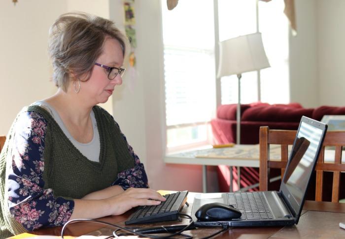 Heidi Whitrock using 1-handed keyboard