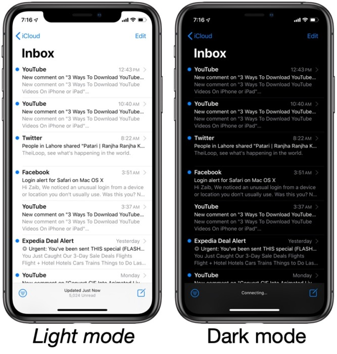 Light and dark modes on Gmail