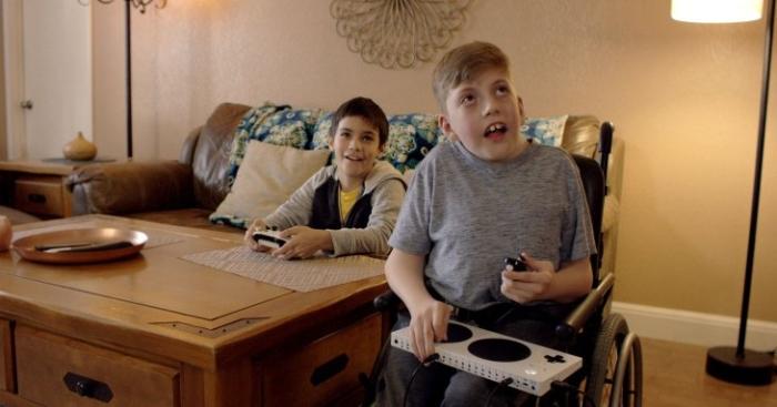 Kids using Xbox adaptive controller