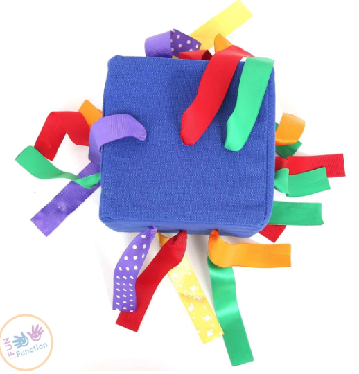 ribbon push and pull cube toy from fun and function