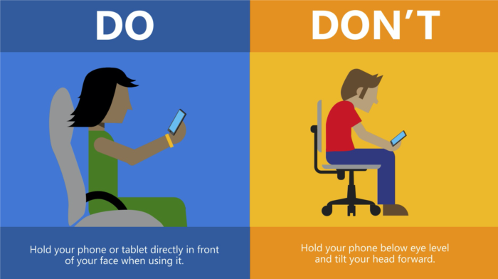 Holding your phone ergonomics graphic