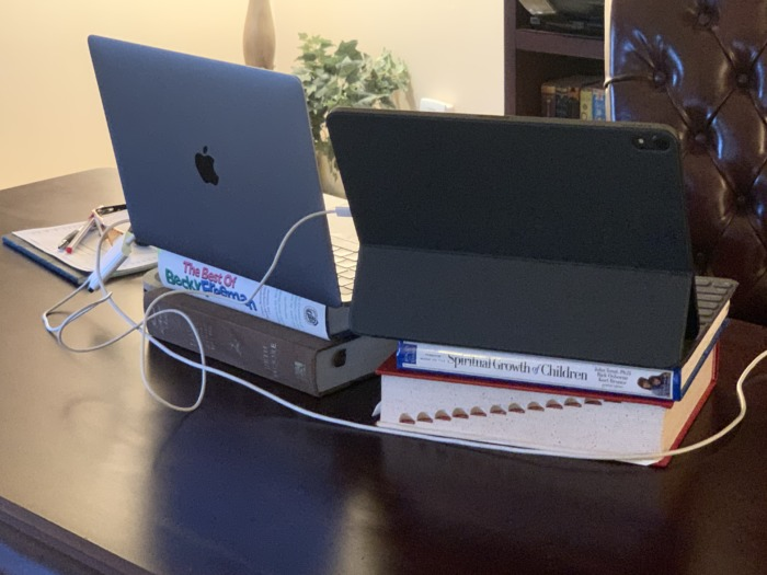 Workstation ergonomics with books