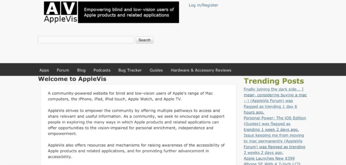 AppleVis website Screenshot