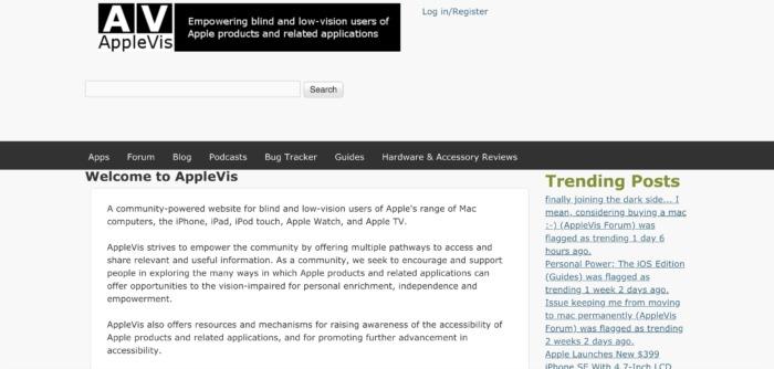AppleVis website Screenshot