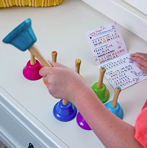 rainbow music hand bells with wooden handles