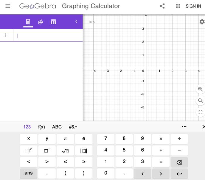 GeoGebra online graphing calculator