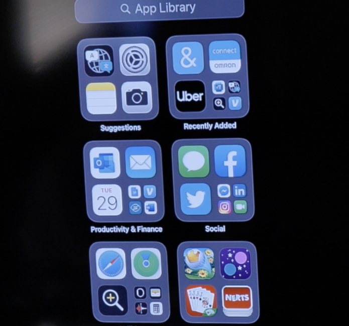 Screen shot of App Library on iPhone