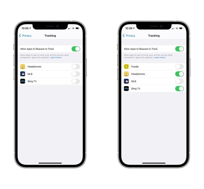screenshot of app tracking on iOS14