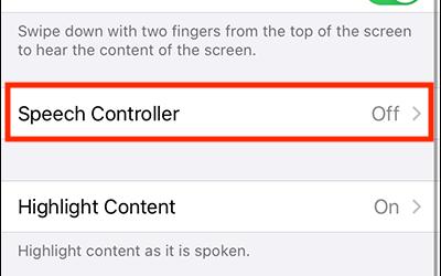 screen shot of Speech Controller
