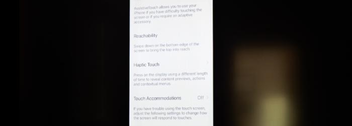screenshot of Reachability & Haptic Touch settings