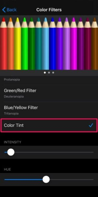 image of color filter screen on iPhone